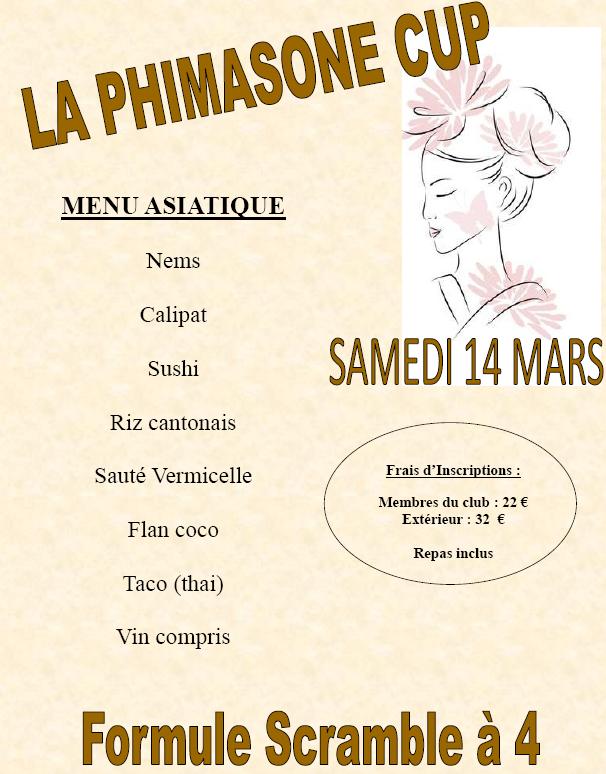 LA PHIMASONE CUP SAMEDI 14 MARS